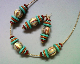Turquoise, Red, Dark Orange, Ivory and Gold Necklace and Earrings (1365)