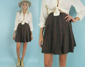 60s High Waisted Plaid Skirt, Vintage Brown Pleated Skirt, Mini Skirt, Size XS, Preppy, School Uniform, Metal Zipper, Cotton, Fall Autumn