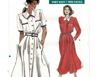 1980s Vogue 7527 Easy 2 Pc Dress Button Front Blouse & Flared Skirt w/ Waistband Womens Sewing Pattern Size 14 16 18 Bust 36 38 40 Uncut