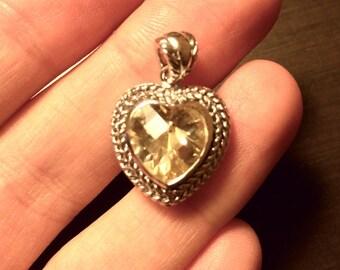 Vintage Silver 925 Heart pendant with Quartz 1990s