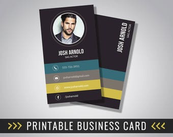 Actors calling card etsy au business card design photo business card printable 35 x 2 inches modern colourmoves Choice Image