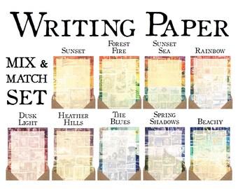 Writing Paper Set - Mix & Match | Luxury Letter Writing Set, Postal Stationery | Vintage Postage Stamp Art Print Snail Mail Penpal Notepaper