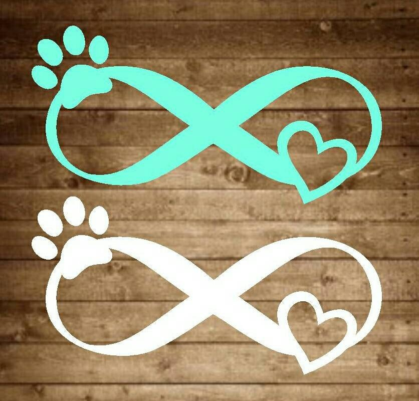 Infinity Pet Love Decal Infinity Decal Pet Decal Paw Print