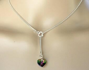 Sterling Silver Handmade Lariat Necklace with Swarovski Valentine Vitrail Medium Crystal AB Heart