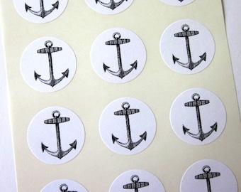 Anchor Stickers One Inch Round Seals