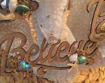 Believe wooden Ornaments,Coastal, Believe,Beachy Ornaments,Mermazing ornaments,Christmas,