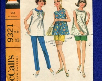 1960's McCall's 9321 Flared Maternity Tops & Slim Pants Size 14