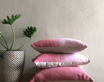 SALE: Dusty Rose Blush Shibori Linen Ombre Dip Dye Pillow