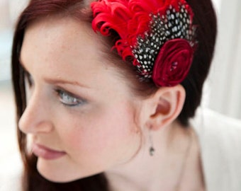Red Feather Headband with flower - Made to order