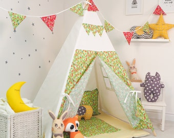 "FREE SHIPPING teepee ""Green Wood"", kids teepee play tent wigwam, children's teepee, playtent, tipi, wigwam, kids teepee, play teepee"