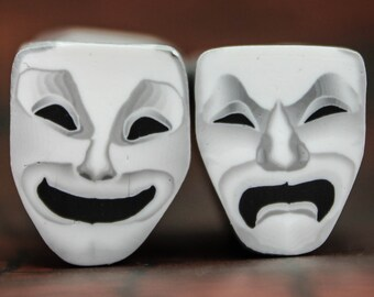 Comedy Tragedy Theater Masks, Set of 2 Polymer Clay Canes -'Drama Queen' (24cc)