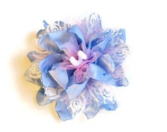 Blue Flower Clip, Blue Flower Hair Clip Blue Flower Pin, Blue Flower Corsage, Blue Flower Hair Accessory