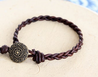 Dark Brown Braided Leather Bracelet • B1DB002