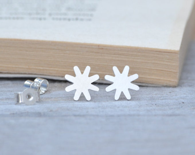 Star Earring Studs In Sterling Silver Handmade In England