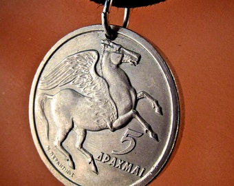 GREEK COIN NECKLACE   pendant . pegasus. winged horse.  coin jewelry . charm greece . 1973 .  drachma No.00892