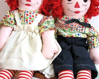 Vintage Handmade Raggedy Ann and Andy Dolls ... 24 Inch Rag Dolls, Soft Sculpture Dolls, Calico in Primary Colors, Primitive Farmhouse Decor