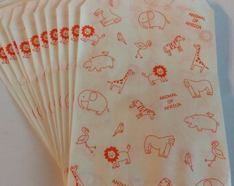 """CLEARANCE From Heiko! Small Flat Paper Bags """"Animal of Africa"""" No Gusset. Made in Japan 10 Bags"""