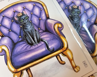 Black Cat Card cat wearing crown on throne chair watercolour illustration birthday card cat lovers card posh pet with crystals