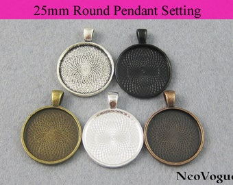 50 - 25mm Round Pendant Setting, 25mm Round Glass Setting, 25mm Round Pendant Tray Bezel - Free Shipping