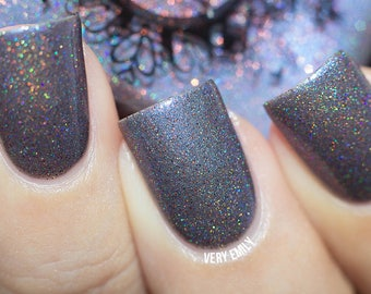 Dwelling in Cliffs SPELL blue-violet holo w/copper microglitter nail polish!