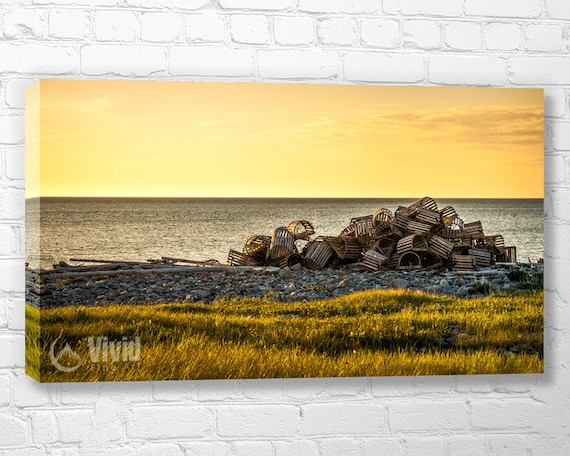 Lobster Trap Photography yellow wall art canvas ocean