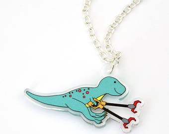 Grabby Arm Dinosaur necklace, t-rex dinosaur, dinosaur necklace, necklace, perspex, acrylic jewellery, perspex necklace, dinosaur jewellery
