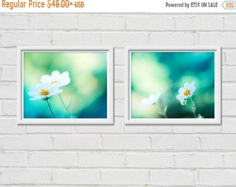 ON SALE botanical photography nature floral print set of 2 8x10 fine art photography floral flower photography teal art print mint green blu