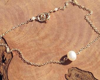Genuine Pearl Bracelet - Gold Pearl Bracelet - June Birthstone  - Tiny Pearl - Dainty Bracelet - Real Pearl