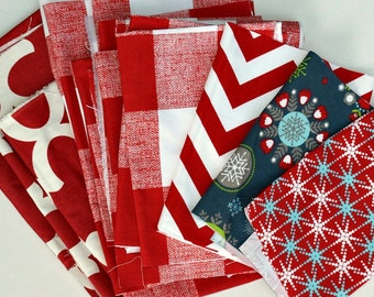 Red Fabric Scraps Bundle, Fynn, Anderson, Zig Zag, Cass Holiday Folks, Home Decor Premier Prints REMNANT CUTS