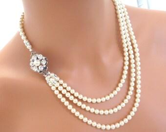 Bridal necklace, Pearl wedding necklace, Wedding jewelry, Statement necklace, Swarovski crystal necklace, Pearl necklace, Vintage style