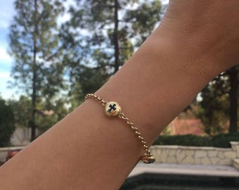 Gold 14K Cross Eye Bracelet