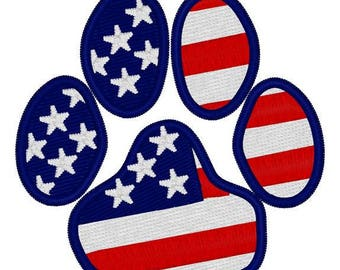 American Flag Dog Paw Embroidery File