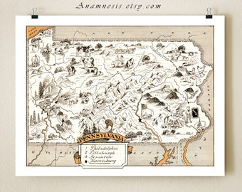 PENNSYLVANIA MAP PRINT - illustrated map - vintage pictorial map - gift idea - may be personalized - size & color choices - vintage wall art