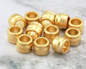 10 pcs Gold Rondelle Spacers, (7mm x 5mm) Gold Rondelle Spacers, 24 Matte Gold Plated Beads, Metal Gold Spacer Beads, Gold Spacers / GPY-036