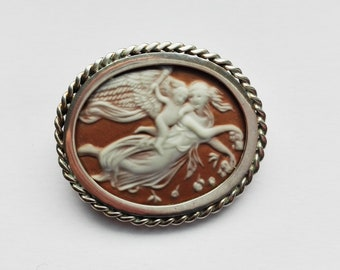 Brooch/pendant with rare mythological cameo with signature-Italy-Silver 925