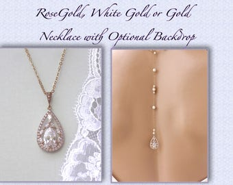 Rose Gold Bridal Necklace, Rose Gold Backdrop Necklace, Crystal Pendant, Crystal Wedding Necklace, Wedding Jewelry  COCO RGBD