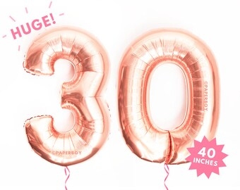 "30 Balloons Rose Gold Number Balloon - 40"" - Mylar Foil Megaloon - Alphabet Letter Number - Large Jumbo Giant 3' foot Helium 30th"