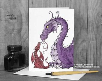 Dragon Mother's Card, Birthday Card, Dragon Greeting Card, Welsh Dragon, Dragon Mom, Mother Card, I love you, Cute Dragon Card, Card for Mum