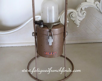 Vintage French CIPEL Battery Lamp As Used On French Railways C1950 Metal Framework Industrial Lamp