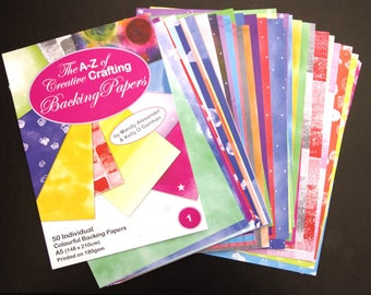The A-Z of Creative Crafting -  50 Individual Colourful Backing Papers