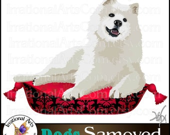 Samoyed set 1 - 3 PNG digital clipart graphics 300dpi  Dog and Doggy Pillow (Instant Download)
