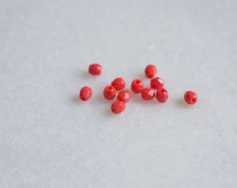25 Czech Glass Fire Polished Beads - opaque coral- CRAFTNL