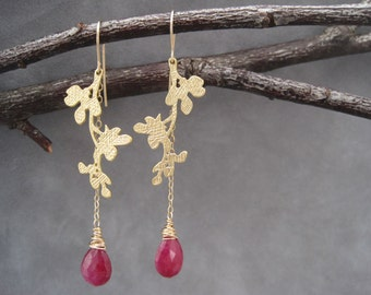 Matte Gold Branch Earrings - Ruby Earrings -Birthstone Jewelry -LIght Weight  Earrings - Nature Inspired Jewelry - Branch and Leaves