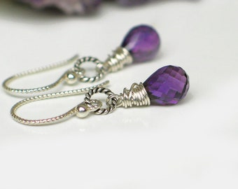 Amethyst Earrings   Purple Amethyst Teardrop   Sterling Silver Wire Wrapped   Argentium Earrings   February Birthstone Gift   Ready to Ship