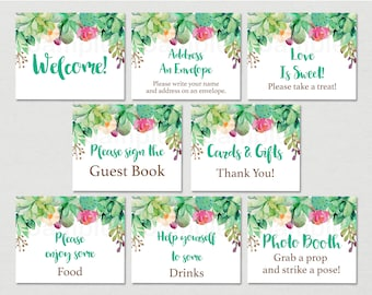 Floral Succulent Bridal Shower Signs / Succulent Bridal Shower / Watercolor Succulent / 8 Printable Party Signs / INSTANT DOWNLOAD B116