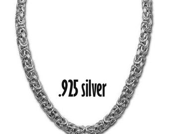 "Sterling Silver 18""  Silver Byzantine necklace, Sterling Silver Link chain necklace, Vintage chain, Byzantine chain with ring closure"