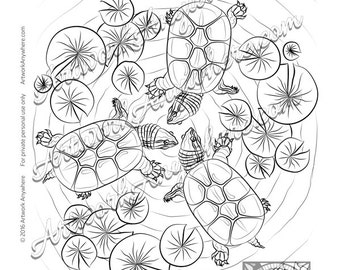 """Lizards, Turtles, and Frogs """"Floating Turtle Fun"""" Adult coloring page printable download from Artwork Anywhere ~hand drawn turtle mandala~"""