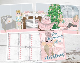 """Deluxe Kit // Weekly Sticker Kit // For Use With Erin Condren or Happy Planner // """"Pink Christmas"""""""