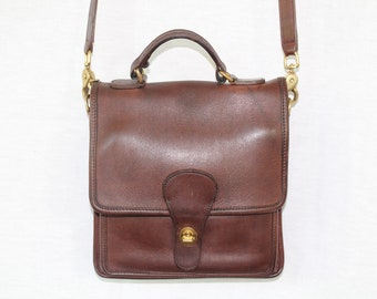 Vintage Coach Mahogany Leather Station Bag