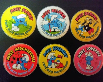 Vintage Smurfs True Blue Awards/1982 Metal Button/Choice of 6 Smurf Sticker Awards/Smurfs Cartoon Advertising Collectibles/New Smurf Badges